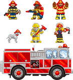 PixelArt: FireFighters. Pixel art llustrated set of icons, depicting firefighters and a firetruck. Artwork is composed of editable  square and is clearly and Royalty Free Stock Image