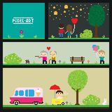 PixelArt park. Pixel art park, illustration Royalty Free Illustration