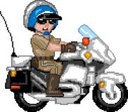 PixelArt: Police Officer N Motocycle Royalty Free Stock Photography