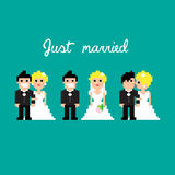 PixelArt wedding. Pixel art icons for wedding, illustration Stock Illustration