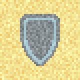 Pixelated小点在黄色背景的传染媒介盾 免版税库存图片