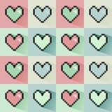 Pixelated心脏无缝的样式 皇族释放例证
