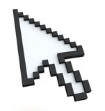 Pixelated 3d arrow. Pointer on a white background Royalty Free Stock Image