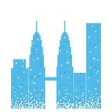 Pixelated błękitny budynek Petronas bliźniaczej wieży ilustracja ilustracja wektor
