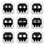 Pixelated 8bit skull  icons set Stock Photos