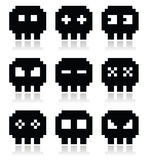 Pixelated 8bit skull  icons set Stock Photo
