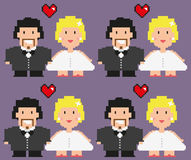 Pixelated bride and grrom. Stock Images