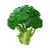 Pixelated broccoli. For mobile games and applications stock illustration