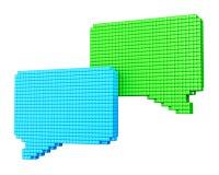 Pixelated bubblaformer på vit 1 Arkivfoton