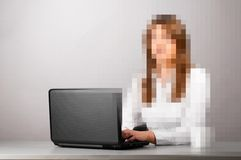 Pixelated business woman Royalty Free Stock Photo