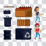 Pixelated character and elements. For videogame scenery vector illustration graphic design Vector Illustration