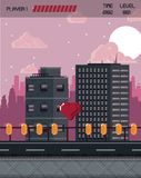 Pixelated city videogame scenery. Pixelated city videogame fight scenery with coins Royalty Free Stock Images