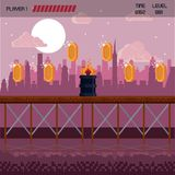 Pixelated city videogame scenery. Pixelated city videogame fight scenery with coins Stock Images