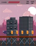 Pixelated city videogame scenery. Pixelated city videogame fight scenery with coins Royalty Free Stock Photos