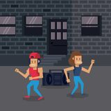 Pixelated city videogame scenery. Pixelated city videogame fight scenery vector illustration graphic design Royalty Free Stock Photo