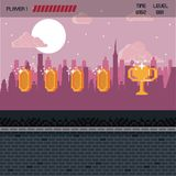 Pixelated city videogame scenery. Pixelated city videogame fight scenery with coins Royalty Free Stock Image