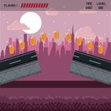 Pixelated city videogame scenery. Pixelated city videogame fight scenery with coins Stock Image