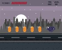 Pixelated city videogame scenery. Pixelated city videogame fight scenery with coins Stock Photo