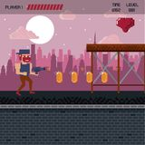 Pixelated city videogame scenery. Pixelated city videogame fight scenery with coins Stock Photos