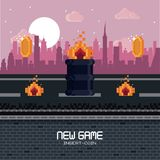 Pixelated city videogame scenery. Pixelated city videogame fight scenery with coins Stock Photography