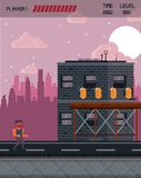 Pixelated city videogame scenery. Pixelated city videogame fight scenery icon vector Royalty Free Stock Photo