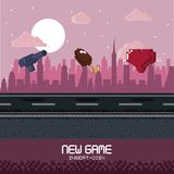 Pixelated city videogame scenery. Pixelated city videogame fight scenery icon vector Royalty Free Stock Images