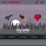 Pixelated city videogame scenery. Pixelated city videogame fight scenery icon vector Stock Images