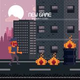Pixelated city videogame scenery. Pixelated city videogame fight scenery icon vector Royalty Free Stock Image