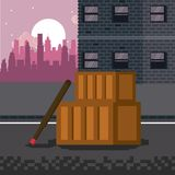 Pixelated city videogame scenery. Pixelated city videogame fight scenery vector illustration graphic design Stock Photo