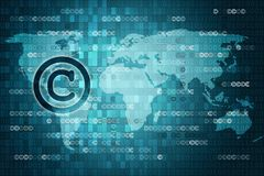 Pixelated copyright icon on blue digital background with copyspace. Law concept.  Stock Photo