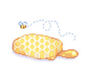 Pixelated cute bee honeycomb 8 bit - isolated vector illustration Stock Images