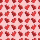 Pixelated czerwoni serca na różowym tle, bezszwowy wzór Obrazy Stock