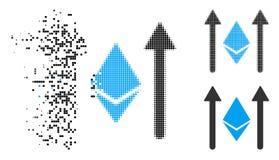 Pixelated dispersé Ethereum tramé Crystal Send Arrows Icon illustration libre de droits