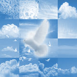 Pixelated dove over a cloud collage. Pixelated, white dove is flying with others over a collage of different clouds Stock Photos