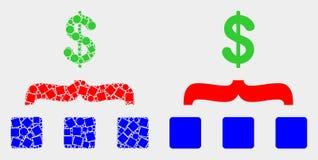 Pixelated e ícone liso da agregação do dólar do vetor ilustração stock