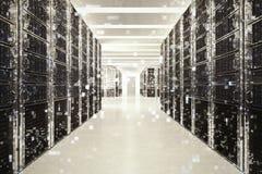 Pixelated effekt av en bild av ett rum av faktisk databas framförande 3d arkivfoto