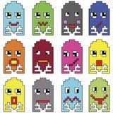 Pixelated-Emoticons 2, die durch neunziger Jahre Weinlesedas videocomputerspieldarstellen angespornt werden, unterscheiden sich G lizenzfreie abbildung