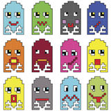 Pixelated emoticons 2 inspired by 90's vintage video computer games showing vary emotions with stroke royalty free illustration