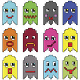Pixelated  emoticons inspired  by 90's vintage video computer  games showing vary emotions with stroke. Icons set Royalty Free Stock Image