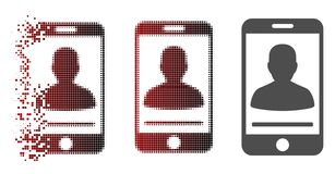 Pixelated en mouvement Person Contact Icon mobile tramé illustration libre de droits