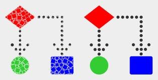 Pixelated et icône plate de schéma fonctionnel de vecteur illustration libre de droits