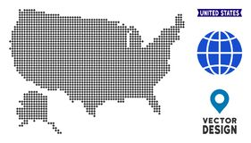 Pixelated Etats-Unis avec la carte de l'Alaska Illustration Stock