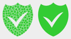 Pixelated and Flat Vector Valid Shield Icon. Dot and flat valid shield icons. Vector mosaic of valid shield created of scattered square elements and circle vector illustration