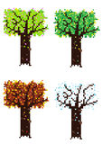 Pixelated four seasons trees Royalty Free Stock Image