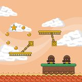 Pixelated game scenery. Vector illustration graphic design Royalty Free Stock Images