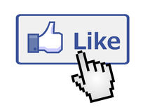 Pixelated hand clicking on like button Royalty Free Stock Photography