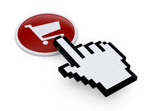 Pixelated hand mouse  pointer on Royalty Free Stock Photo