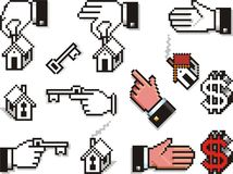 Pixelated Hands with Houses and Keys royalty free illustration
