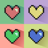 Pixelated hearts seamless  pattern. Royalty Free Stock Image