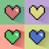 Pixelated hearts seamless  pattern. Royalty Free Stock Image